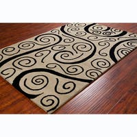Allie Handmade Spiral Beige Wool Rug - 5' x 7'6
