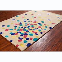 Allie Handmade Abstract Beige Wool Rug - 5' x 7'6""