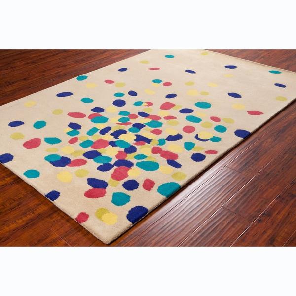 "Allie Handmade Abstract Beige Wool Rug - 5' x 7'6"""