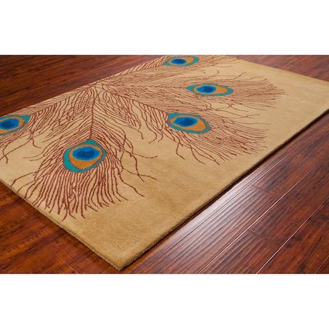 Allie Handmade Peacock Feathers Wool Rug - 5' x 7'6