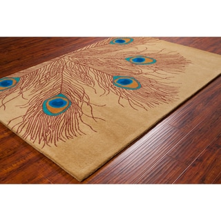 Allie Handmade Peacock Feathers Wool Rug (5' x 7'6)
