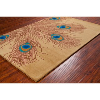 Allie Handmade Peacock Feathers Wool Rug - 5' x 7'6
