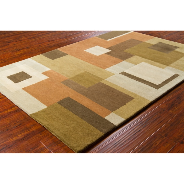 Allie Handmade Geometric Multicolored Wool Rug - 5' x 7'6