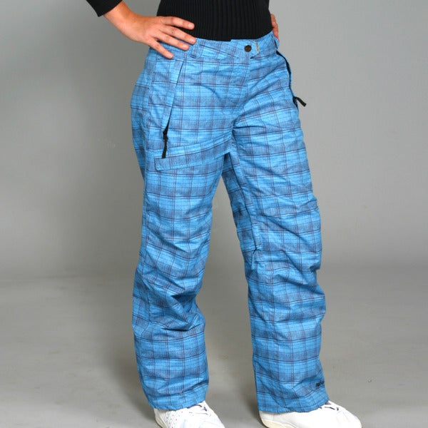 Pulse Women's Vivid Blue Plaid Ski/Snowboard Pants