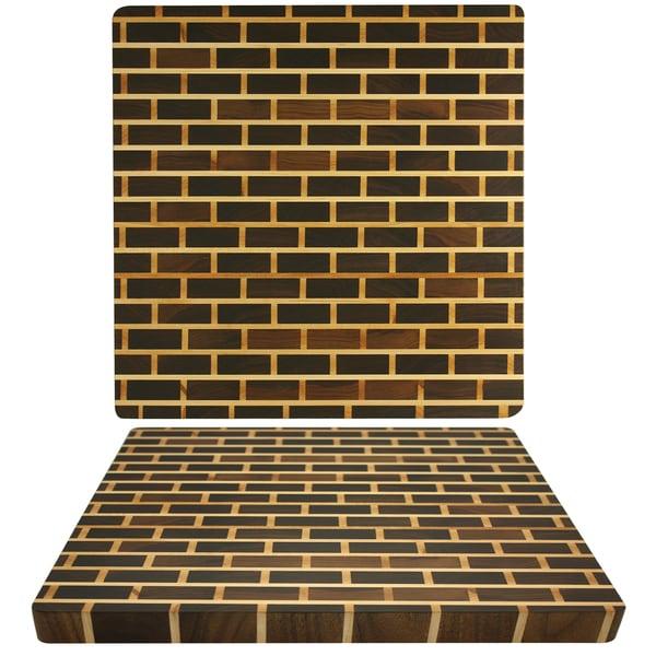 Kobi 1.5-inch Square Brick Wall Walnut Butcher Block Cutting Board