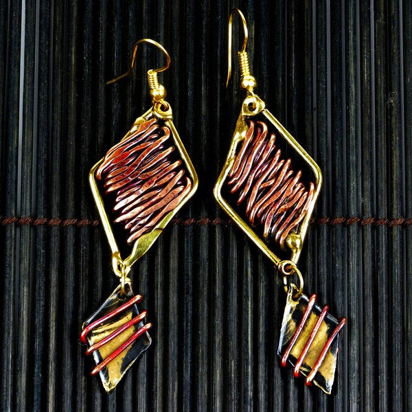 Copper and Brass Zinc Age Diamond Shaped Earrings (South Africa)