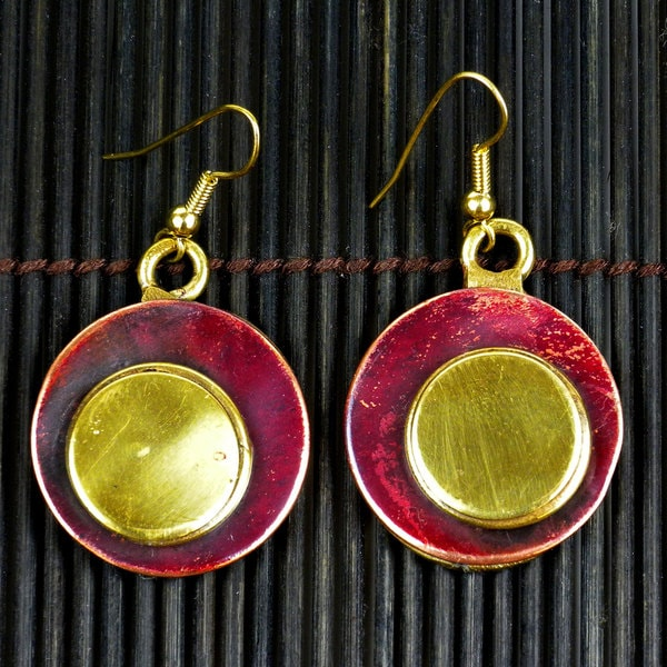 Handmade Copper and Brass Circles Squared Earrings (South Africa)