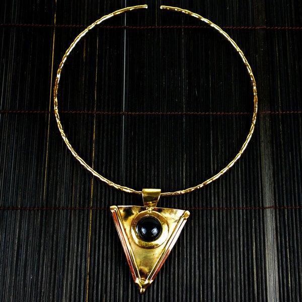 Onyx Brass and Copper Triangular Pendant Necklace (Ziod Africa)
