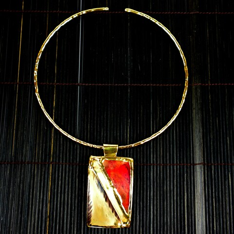 Handmade Red Copper and Brass Pendant Necklace (South Africa)