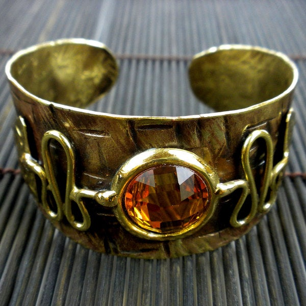 Handmade Brass Citrine Tribal Cuff Bracelet (South Africa)