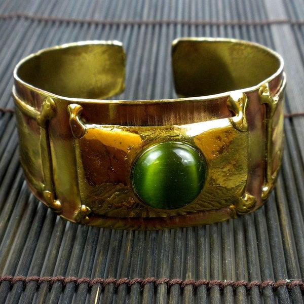 Brass Green Tiger Eye Cuff Bracelet (South Africa)