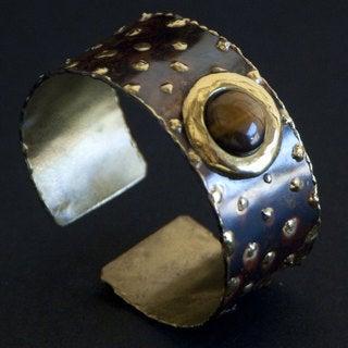 Handmade Brass Tigers Eye Cougar Cuff (South Africa)