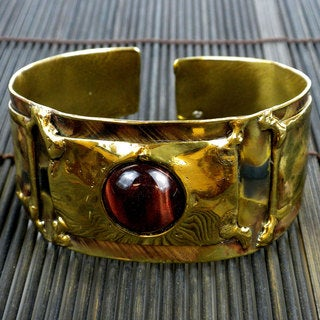Handmade Fired Brass Red Tiger Eye Cuff (South Africa)