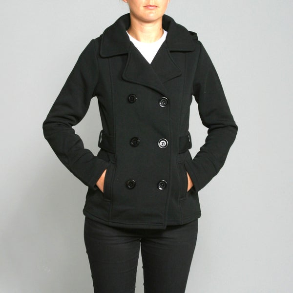 Honey Bun Women's Black Belted Fleece Coat