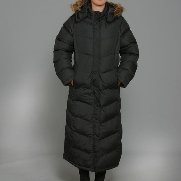 Honey Bun Women's Black Long Puffer Coat - Free Shipping Today ...