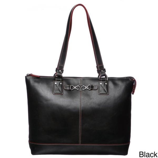 Johnston & Murphy Women's Leather Zip Tote Handbag