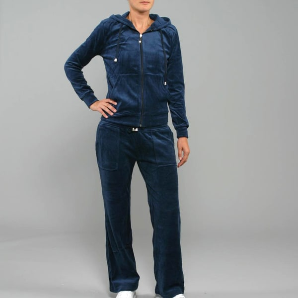 Breezy Women's 2-Piece Velour Track Set in Navy