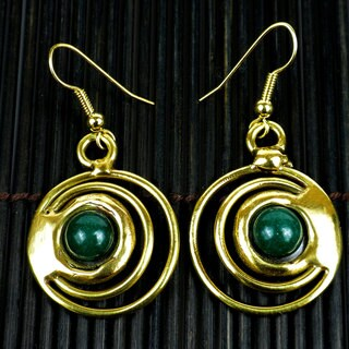 Handmade Brass Green Jade Concentric Earrings (South Africa)