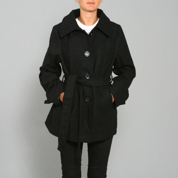 Blue Axes Women's Plus Black Wool Half Coat
