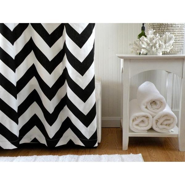Black and White Chevron Designer Shower Curtain