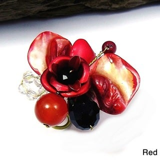 Handmade Red Rose Passion Mix Stone Adjustable Ring (Thailand)