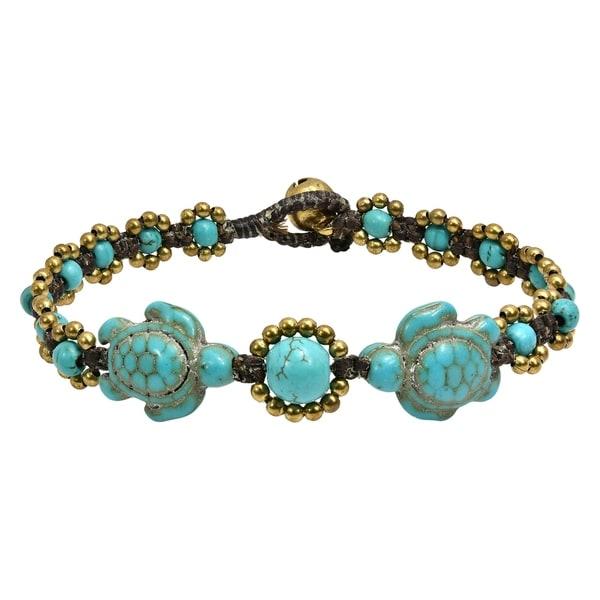 Handmade Turtle Fascination Turquoise Bracelet (Thailand). Opens flyout.