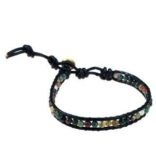 Handmade Seven Color Jade Mystic Om Sign Strand Bracelet (Thailand)