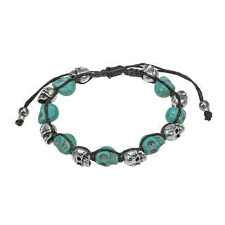 Handmade Numinous Smiling Skulls Recontructed Turquoise Bracelet (Thailand)