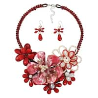 Handmade Exuberant Florals Mix Stones Jewelry Set (Thailand) - Red