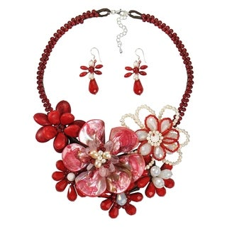 Handmade Exuberant Florals Mix Stones Jewelry Set (Thailand) - Red