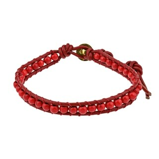 Handmade Enchanted Synthetic Coral Turquoise Single Strand Bracelet (Thailand)
