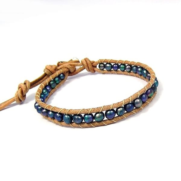 Handmade Trendy Nude Leather Mix Stone Single Strand Bracelet (Thailand)