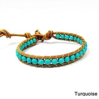 Trendy Nude Leather Mix Stone Single Strand Bracelet (Thailand)