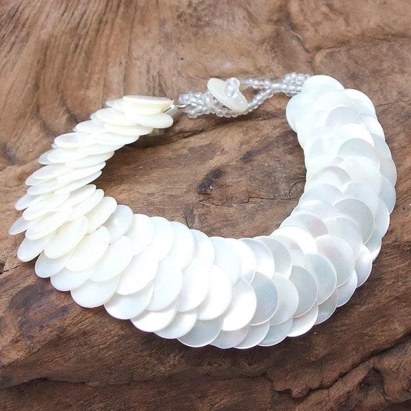 Infinity Layered White Troca Seashells Handmade Bracelet (Philippines)