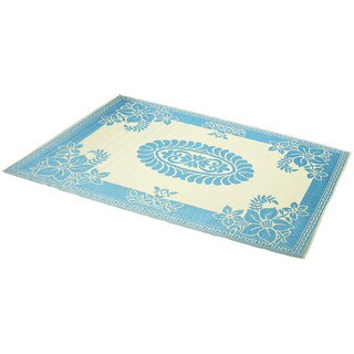Hand-Stitched Turquoise/Ivory Indoor/Outdoor Flatweave Rug (4' x 6') (India)