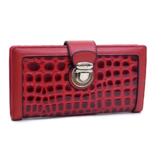 Dasein Patent Croco Chic Bi-fold Checkbook Wallet (Option: Red)