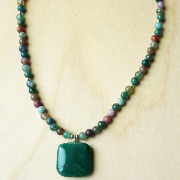 Every Morning Design Green Jade Drop on Fancy Jasper Necklace