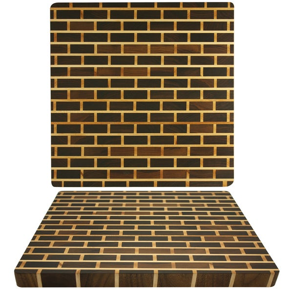 Kobi 1-inch Square Brick Wall Walnut Butcher Block Cutting Board
