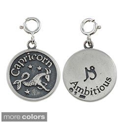 Sterling Silver Zodiac Double-sided Round Charm