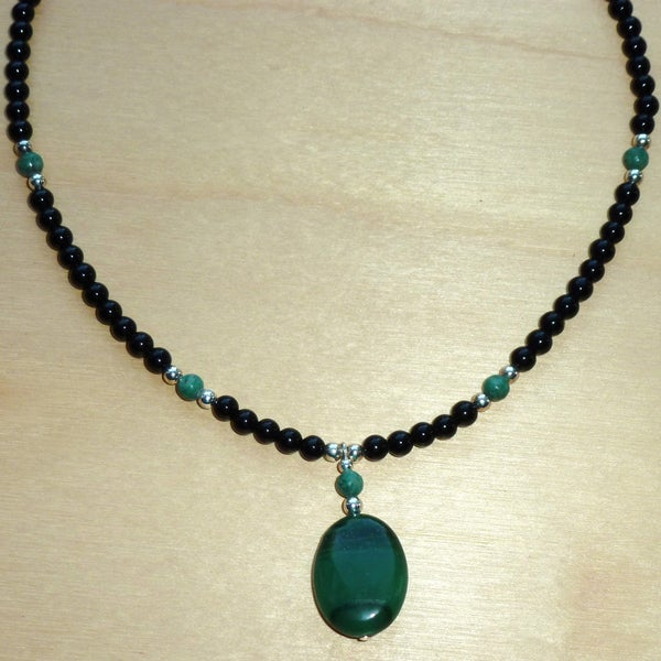 Every Morning Design Sterling Silver Jade and Obsidian Necklace