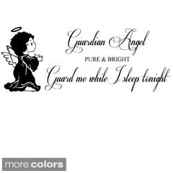 Guardian Angel True and Bright, Guard Me As I Sleep Tonight' Vinyl Wall Art Decal