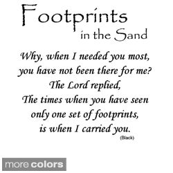 'Footprints in the Sand' Vinyl Wall Art Decal (Option: White)