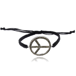 Dolce Giavonna Silverplated Marcasite Peace Symbol Braided String Bracelet