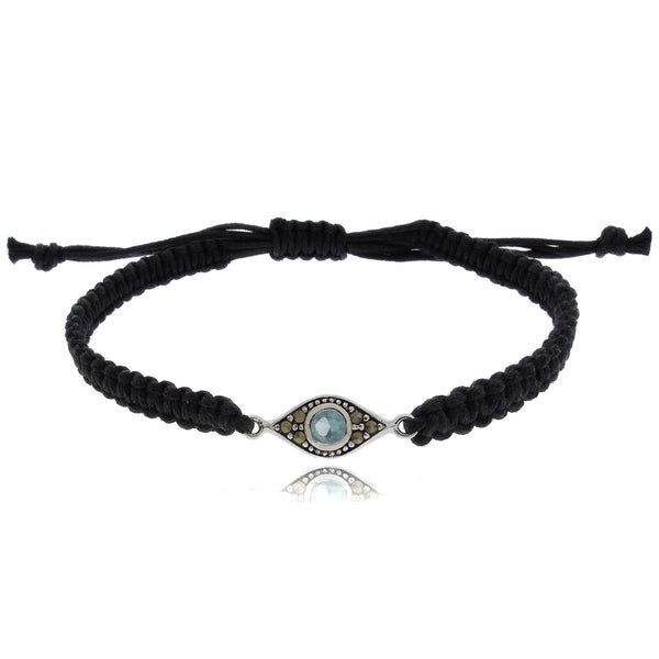 Dolce Giavonna Silverplated Marcasite and Simulated Aquamarine Evil Eye Bracelet