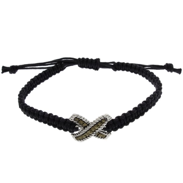 Dolce Giavonna Silverplated Marcasite Criss-cross Braided String Bracelet