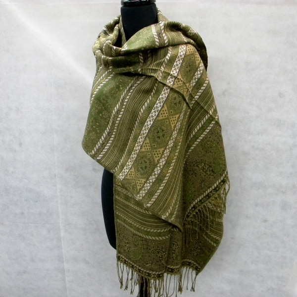Green Tapestry Fashion Scarf with Silver Sequin Accents