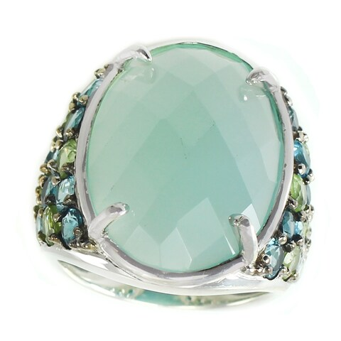 Michael Valitutti Sterling Silver Blue Chalcedony, Blue Topaz and Peridot Ring