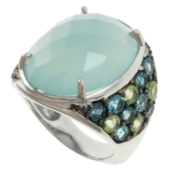 Michael Valitutti Silver Blue Chalcedony, Blue Topaz and Peridot Ring
