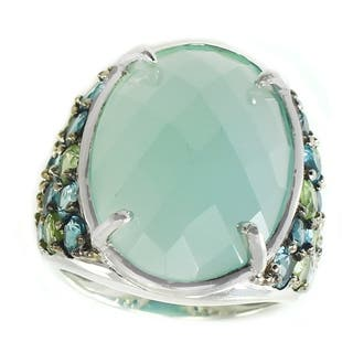 Michael Valitutti Sterling Silver Blue Chalcedony, Blue Topaz and Peridot Ring|https://ak1.ostkcdn.com/images/products/7482163/P14927758.jpg?impolicy=medium