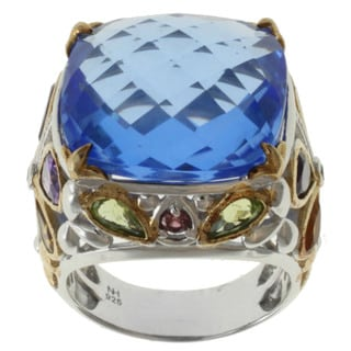 Michael Valitutti Two-tone Blue Quartz, Amethyst, Peridot and Citrine Ring